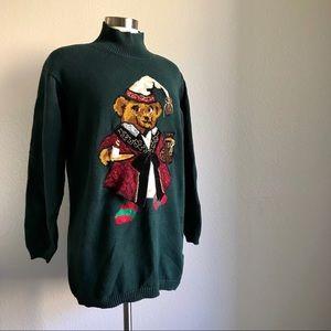 VTG Talbots Teddy Bear Ugly Christmas Sweater *Q12